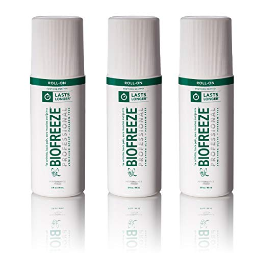 Biofreeze Professional Roll-On Pain Relief Gel, 3 oz. Bottle, Green, Pack of 3 ()