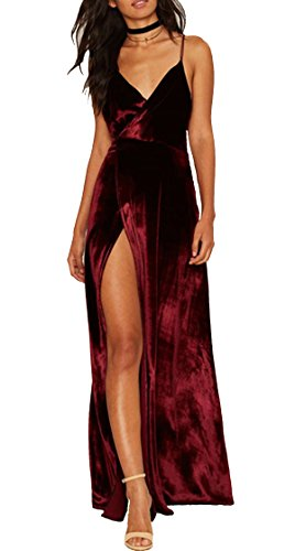 R.Vivimos Women Spaghetti Straps Deep V Neck Velvet Long Dress Small
