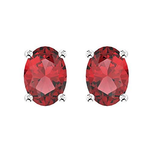 (Garnet Earrings Studs 5x7 oval with Sterling Silver for Women Girls)
