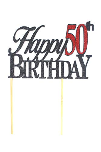 All About Details Happy 50th Birthday Cake Topper,1pc, 50th Birthday, Cake Decoration, Party Decor (Black & Red) -