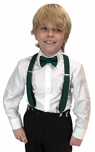 Forest Hunter Green - Spencer J's Boys X Back Suspenders & Bowtie Set Variety of Colors (Forest / Emerald / Hunter)