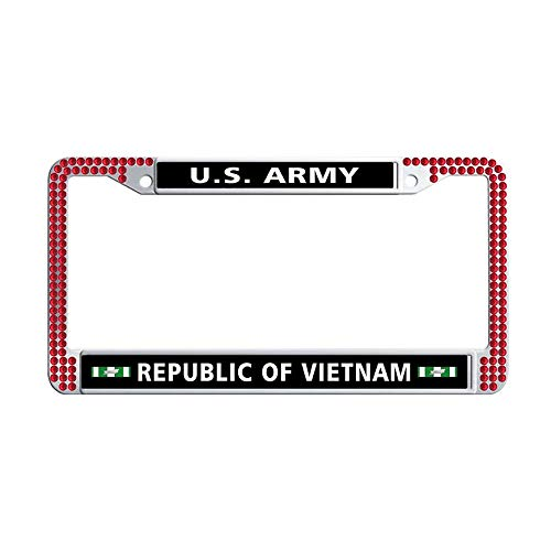 Toanovelty US Army Republic of Vietnam Campaign Ribbon Glitter Crystal License Plate Frame, Waterproof Red Bling Vintage Car License Plate Holder 6' x 12' in