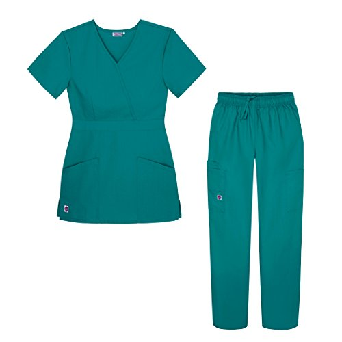Sivvan Women's Scrub Set - Multi Pocket Cargo Pants & Stylish Mock Wrap Top - S8401 - TBL - XXS