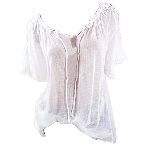 Lache paule Tops Chemises Blouses Casual Femme Tunique Courtes Shirts Haut Nue Blanc Manches T TwxxPq