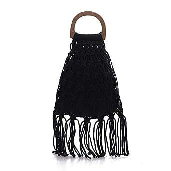TOOGOO Handmade Cotton Woven Wood Handle Womens Handbags and Purses Hollow Rope Tassel Beach Female Net Straw Tote Evening Clutch Bags Black
