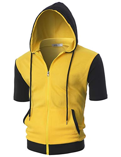 OHOO Mens Slim Fit Short Sleeve Lightweight Zip-up Costume Hoodie with Kanga Pocket/DCF057-YELLOW/BLACK-S