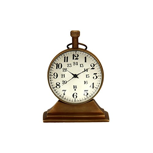 Artshai 2 inch size antique look brass Table clock,excellent desk clock by Artshai