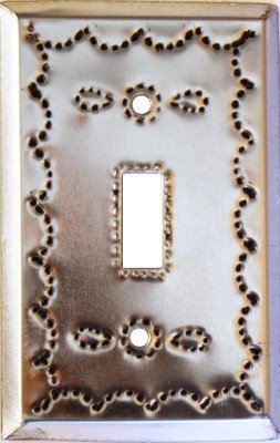 Tin Single Switchplate - Fine Crafts Imports Single Toggle Silver Tin Switchplate