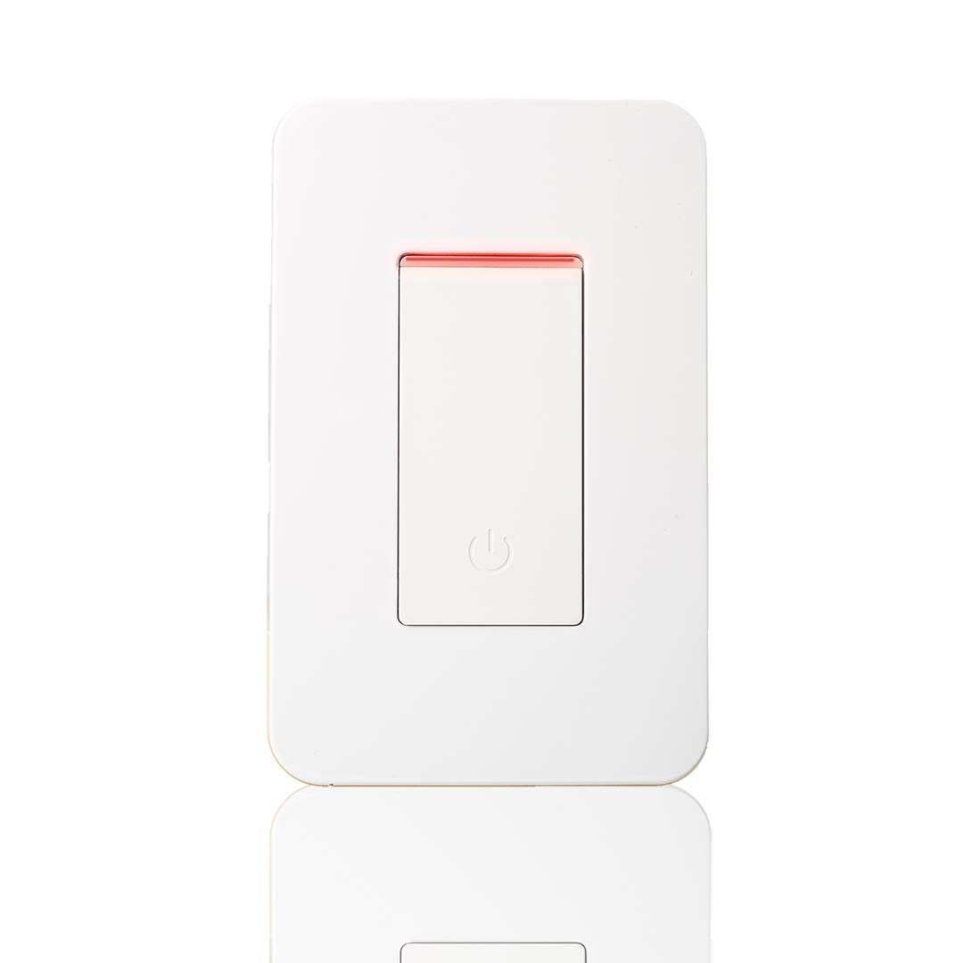Smart Wi-Fi Light Switch, Alexa Google Home Compatible IFTTT, iOS Android Smartphone Wireless Remote Control, No Hub Required, Timer Function, Push Button, In-Wall, 1 Gang, 15A (Push Button White)