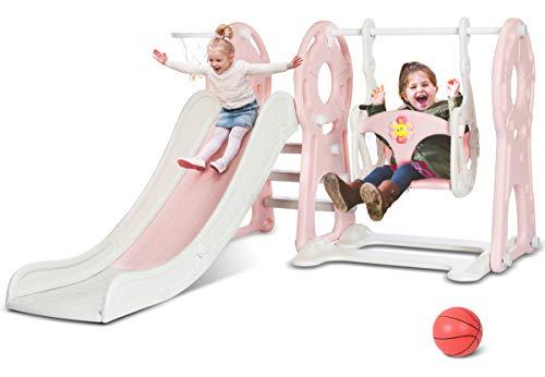 KINGSO Slide and Swing Set for Toddlers 4 in 1 Kids Slide Sturdy Toddler Playground Indoor Outdoor Slide Climber Toy Playset Basketball Hoop Extra Long Slide Easy Setup Backyard Kids Activity(Pink)
