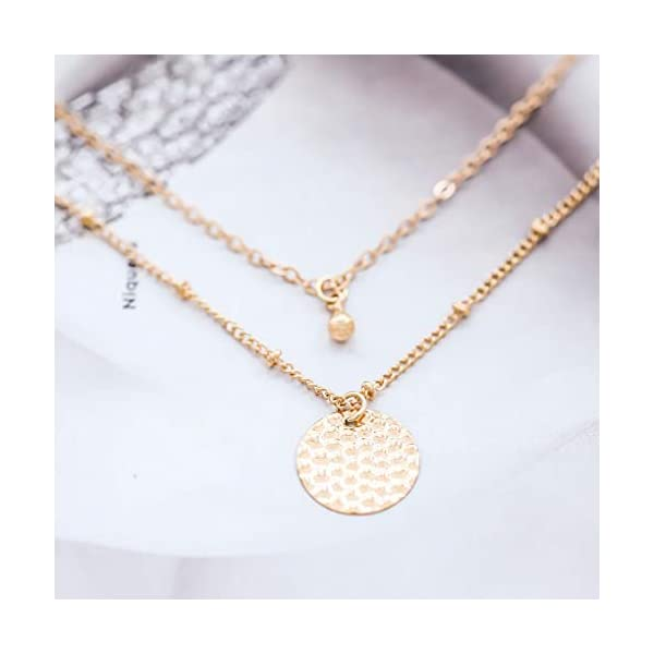 Yalice Multi-Layered Round Disc Necklace Chain Vertical Bar Pendant Necklaces Jewelry for Women and Girls