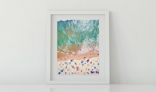 Framed Wall Art, Aerial Beach Picture, Coastal Decor, 11X14 white modern frame with 8x10 Matted (Aerial Wall)
