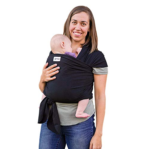 Baby Wrap Ergo Carrier Sling by Sleepy Wrap – Black – for Babies from Birth to 35 lbs or About 18 Months