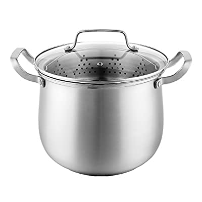 WENJUN Stainless Stockpot With Cover6-inch Stainless Steel Three-layer Multi-bottom Deep Soup Pot Stew Induction Cooker Universal Large-capacity Thickening Steamer