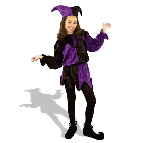 Charades Child's Crushed Panne Jester Tunic Costume, Black/Purple, Large - Jester Girl Costumes