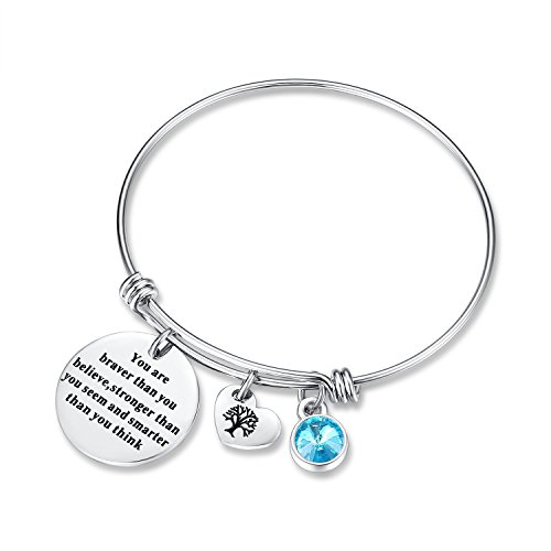 March Birthstone You Are Braver Than You Believe Think Charm Bracelet Jewelry with Heart Tree of Life, Birthday Gifts for mom sister mother daughter friendship wife christmas day gifts (Aquamarine) ()