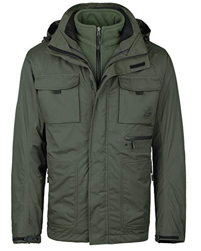 MECASTAR Mens Snowboard Ski Jacket 3-in-1 Waterproof Windproof Warm Winter Shell with Detachable Hood and Fleece Liner ArmyGreen (Best 3 In 1 Jacket Reviews)