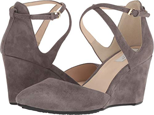 (Cole Haan Women's Lacey Wedge Ankle Strap 75mm Stormcloud Suede 7 B)