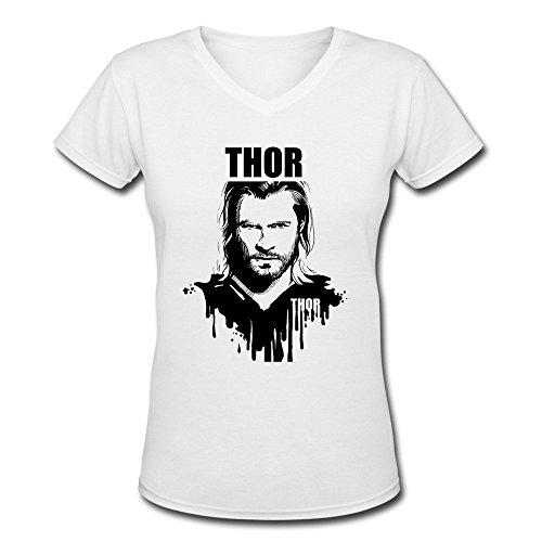 Women's V-Neck Cotton Thor Loki 1 Tshirts L White