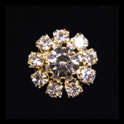 - #14063G Small Rhinestone Rosette Button - Gold Plated