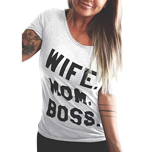 Womens Casual T-Shirt,Wife/Mom/Boss Letter Print Tee Plus Size S-3XL,Funny Fashion Top for Ladies on Summer White