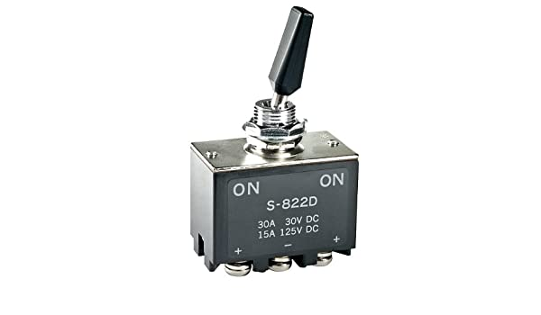 S823D Switch Toggle ON Off ON DPDT Flat Lever Screw Lug 30A 250VDC Panel Mount with Threads