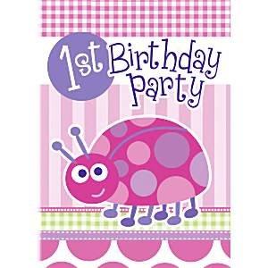 Ladybug 1ra Invitación Del Cumpleaños Tarjetas Paquete De 8