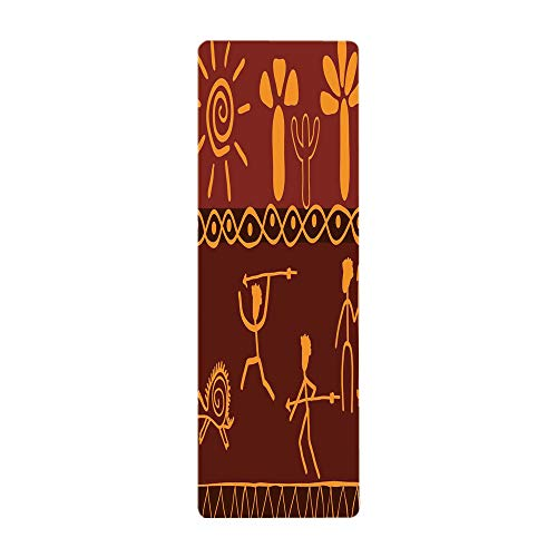 iPrint Yoga Towel, 100% Microfiber Yoga Mat Towel,Primitive,African Tribe Hunting Scene Wild Animal Casual Old Days Artistic Ethnic Pattern,Orange Red,for Hot Yoga, Pilates and Fitness by iPrint