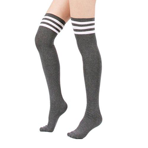 Sexy Hosiery Stripe Tights (Zando Women's Cotton Athlete Triple Stripe Tights Over The Knee Thigh High Socks Casual Above Knee Socks Grey)