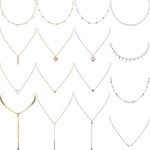 Yaomiao 16 Pieces Layered Choker Necklace Adjustable Pendant Necklace Moon Sequins Choker Multilayer Chain Necklace Set for Women Girls (Sliver and Gold)]()