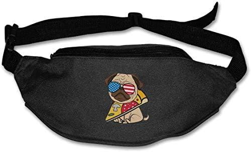 パグピザアメリカユニセックスアウトドアファニーパックバッグベルトバッグスポーツウエストパック