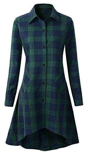OLRAIN Womens New Plaids Irregular Hem Casual Shirt Dress (Large, Ngreen)