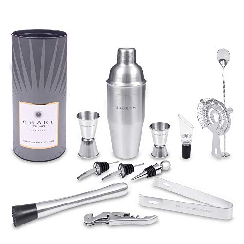 Shake 'Em Out Premium Cocktail Shaker Set Stainless Steel Complete Mixology Bartender Kit - Your Ultimate Home Bartending Kit For Your Home Bar With Exclusive Cocktail Recipes