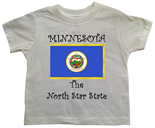 MINNESOTA - THE NORTH STAR STATE - FLAG - MINNESOTA TODDLER - State-series - White Toddler T-shirt - size Small - Mall North Star