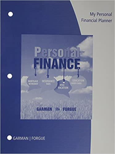 my personal financial planner with worksheets for garman forgue s