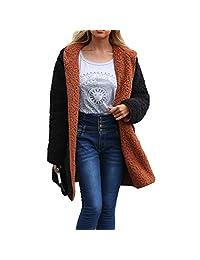 Belgius Women Reversible Long Fleece Hoodie Coat Sherpa Cardigan Outwear