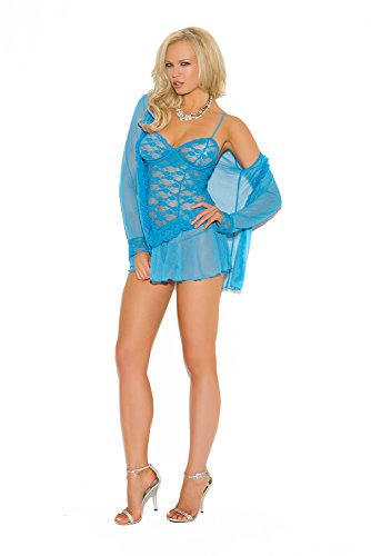 Elegant Moments Robes (Elegant Moments Women's Lace Babydoll with Long Sleeve Jacket and G-String Set, Blue, Small)