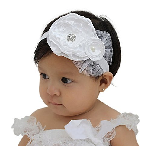 Amazon handmade white flower baby baptism headband with handmade white flower baby baptism headband with rhinestone by allbabygirls baptism headpiece baby flower mightylinksfo