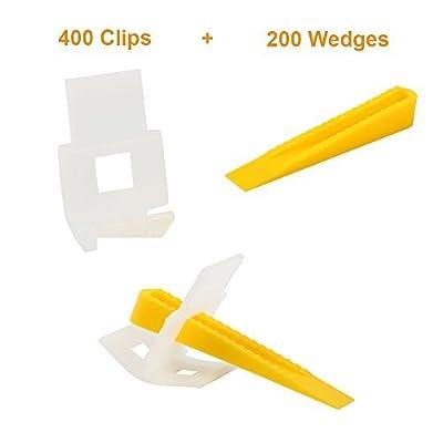 Yaekoo 400 Clips + 200 Wedges 600 Tiles Leveler Spacers Lippage Tile Leveling System DIY