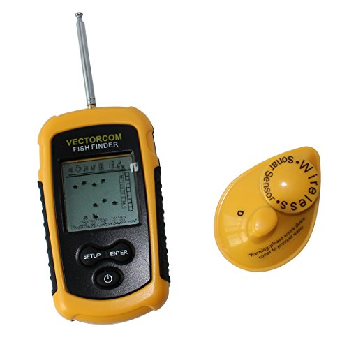 VECTORCOM Portable Wireless Fish Finder Fishfinder Outdoor fishing tool with LCD display Depth Range Max 120Feet(35meters) yellow with black, suitable for ice fishing. FFW1108-1 Fish Finders And Other Electronics VECTORCOM