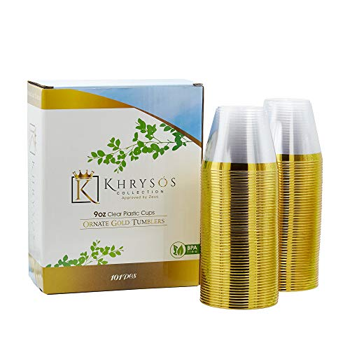 101 Beautiful Gold Rim Plastic Cups/Tumbler(s) to Decorate your Kitchen for Baby Showers, Wedding Celebrations, Graduation Parties, A birthday etc -These Disposable cups pair BEAUTIFULLY withBrida