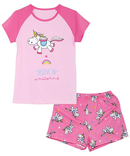 Girls Unicorn Pajamas - 100% Cotton Short Sleeve Tee & Shorts Summer Jammies Set Sleepwear Size 8 ()
