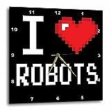 3dRose Geeky Old School Pixelated Pixels 8-Bit I Heart I Love Robots - Wall Clock, 10 by 10-Inch (dpp_118933_1)