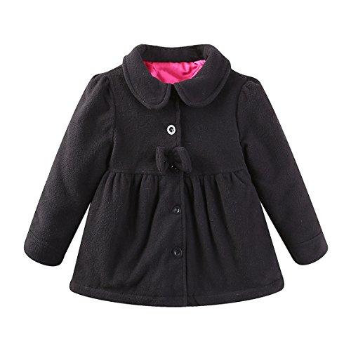 (UWESPRING Baby Girls Dress Coat Faux Fur Button Black 12-18 Months)