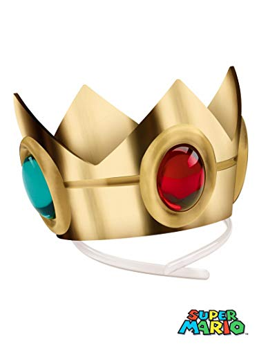 Disguise Women's Nintendo Super Mario Bros.Princess Peach Crown Costume Accessory, Gold/Red/Green, One Size (Princess Crown Supplies)