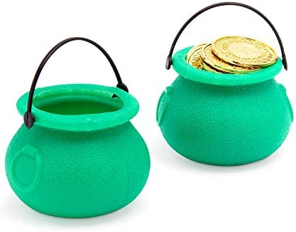 Mini Cauldron Pot with Handle, St Patrick's Decorations (Green, 24 Pack)