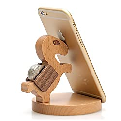 Creative Cute Natural Wooden cell Phone Stand/ Holder For Iphone Ipad Samsung Phone Tablet Plate PC (Smart horse)