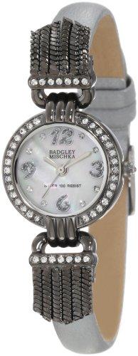 badgley-mischka-womens-ba-1213mpsi-swarovski-crystal-accented-gunmetal-tone-silver-leather-strap-wat