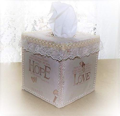 (Inspirational Tissue Box Cover with Ribbon Lace)