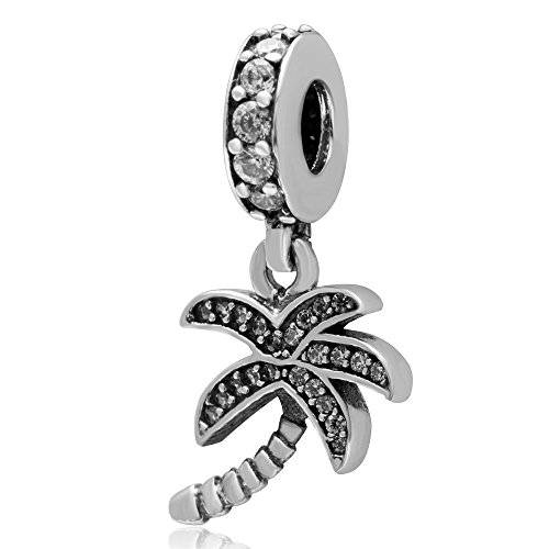 Ollia Jewelry 925 Sterling Silver Dangle Beads Sparkling Palm Tree Coconut Tree Charm Tropic Trees Charm with White Zircon Stones Hot Summer Beach (Palm Tree Dangle Silver Charm)